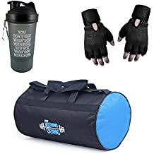 VELLORA Polyester Long Lasting Material, Duffel Bag, Gym Bag with Sport Sipper Water Bottle and Gloves (Blue Black)