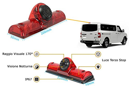 Telecamera Retromarcia Specifico Per Furgone Nissan NV200 Passenger Cargo Van 2009-2014 Con Luci Led Terzo Stop Posteriore (Cargo 2009)