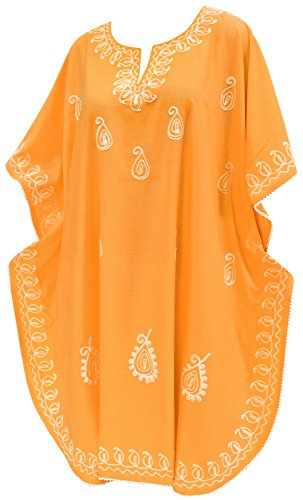 LA LEELA 100% Baumwolle Designer plus size Strand vertuschen Kaftan Orange