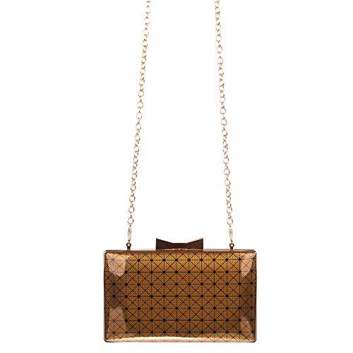 Clutch Handtasche mit Umhängekette Blau Bronze