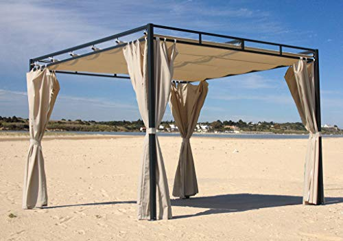 Quick-Star Ersatzdach für Flachdach Pergola Firenze 3x3m Pergoladach Bezug Sand