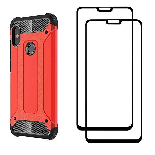 FANFO® Xiaomi Redmi Note 6 pro Hülle + [2 Stück] Gehärtetem Glass, TPU + PC-Kombination Langlebig Schutzhülle + 9H Härte Displayschutzfolie Folie für Xiaomi Redmi Note 6 pro, rot