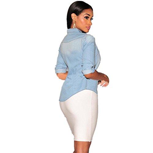 SHISHANG Veste en denim pour femme nouvelle chemise en denim en soie à la mode européenne et américaine à manches longues en mouton bleu foncé bleu clair Light Blue