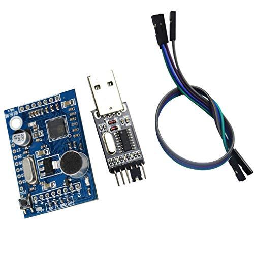LD3320 Spracherkennungsmodul mit 4-teiliger Buchse zu weiblichen DuPont-Leitungen und USB zu TTL-Downloader-Sprachinteraktionsplatine Sound Control