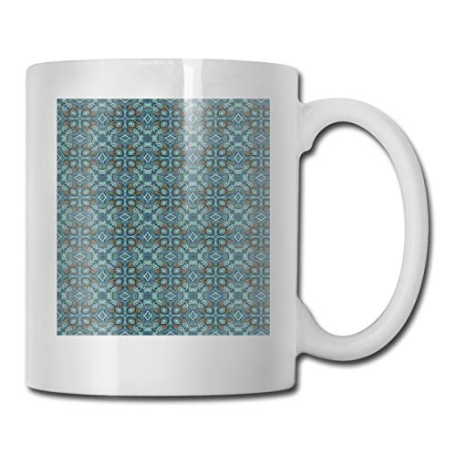 Floral Demitasse (Jolly2T Funny Ceramic Novelty Coffee Mug 11oz,Kaleidoscopic Hippie Floral Motifs Festive Folkloric Composition In Abstract Style,Unisex Who Tea Mugs Coffee Cups,Suitable for Office and Home)