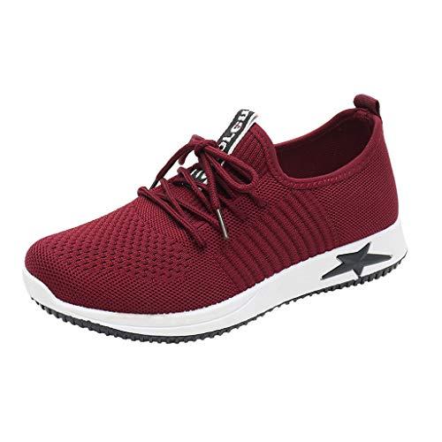 LILIHOT Damen Sport Laufschuhe einen Fuß faul Schuhe atmungsaktiv leichte Wanderschuhe Bequeme Flache Schuhe leichte Mesh Sportschuhe Straße Laufschuhe Fitness-Training Schuhe