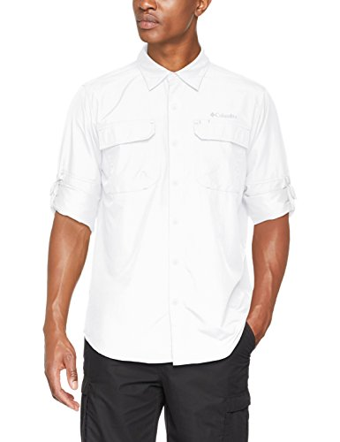 Columbia Langarm-Wanderhemd für Herren, Silver Ridge II Long Sleeve Shirt, Nylon, weiß,