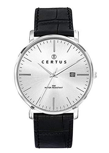 Certus–Reloj Hombre–h610m034–Piel Negro–Reloj Plateado–Fechador