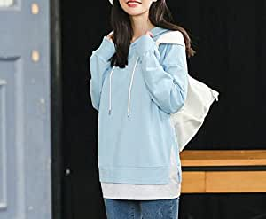 Europe and the United States High Sales Autumn Women 's Printed Letter Long Sleeve Hooded Sweater,Light blue,L