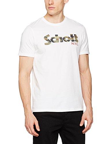 Schott NYC Herren T-Shirt Tslogo Weiß (White Camo 10)