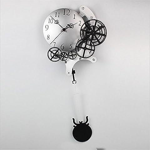 Horloge murale dynamique équipement mécanique moderne équipement métallique accessoires de maison horloge murale silencieuse horloge pivotante haut de gamme , 4