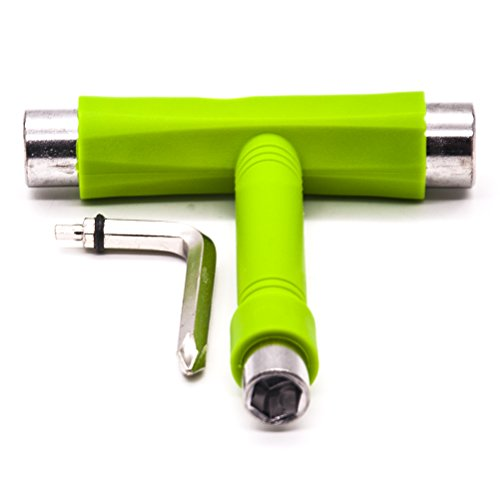 JLERU Skate Tool per Skateboard Longboard Scooter ,Multifunzionale Skateboard Attrezzo T-forma strumento di regolazione (verde)