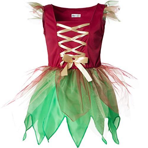 dressforfun 900346 - Costume da Bambina Elfo del Bosco, Incantevole Abito in Verde e Rosso (128| No. 301718)