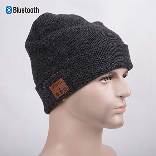 SMACO Bluetooth Beanie Hut, Herren Winter Stricken Hut 6 Stunden Lang Spielen Audio-Kappe Bestes Neujahr, Gray - Lange Stricken Hut