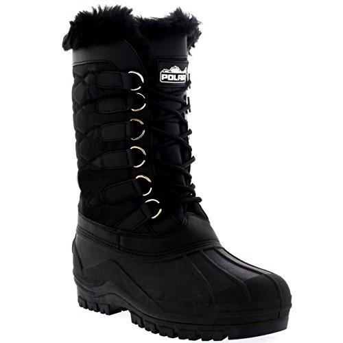 Damen Nylon Kaltes Wetter Im Freien Schnee Ente Winter Regen Pelz Cuff Lace Stiefel - Schwarz - BLK42 AYC0132