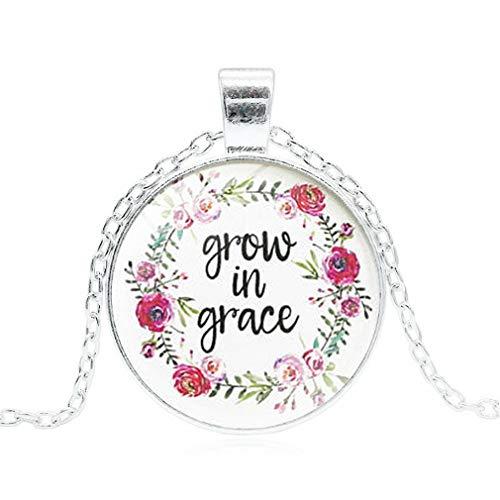 (DAILYG Frauen Magic Time Gem Anhänger Halskette Christian Bible Zitat Choker-45cm, Style 10 (in der Gnade wachsen), Zinklegierung)