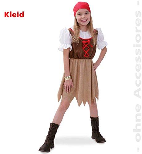 Piratenkleid, See-Piratin, Kinder-Kostüm, Piratenbraut, See-Räuberin, Freibeuterin, Pirat Kleid Mädchen (Kostüm Für Ideen Bauern Kinder)