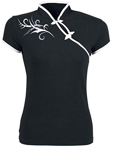 Fashion Victim Tribal Fantasy Girl-Shirt schwarz/weiß M (Damen Fantasy Schwarz T-shirt)