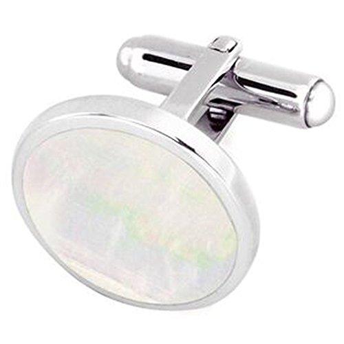 Sterling 925 feste Silber Rund Perlmutt Manschettenknöpfe mit eingraviertem Box (Monogrammiert Schmuck-box)