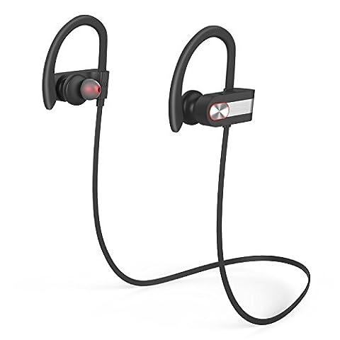 Ecouteurs Bluetooth,YXwin Oreillette Bluetooth V4.1 Earhook Les Ecouteurs Sans Fil Sport Oreillettes Métal Pour Iphone iPad Sony Huawei Samsung et autres téléphones Android - Noir