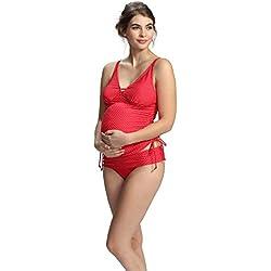Petit Amour Ava Rojo umstandstankini S–XL, rojo/blanco, XL