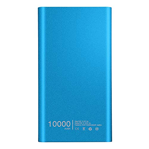 Wokee Tragbare Ultradünne Powerbank 10000mAh,Dual USB Externer Power Bank für Smartphones (Blau) -
