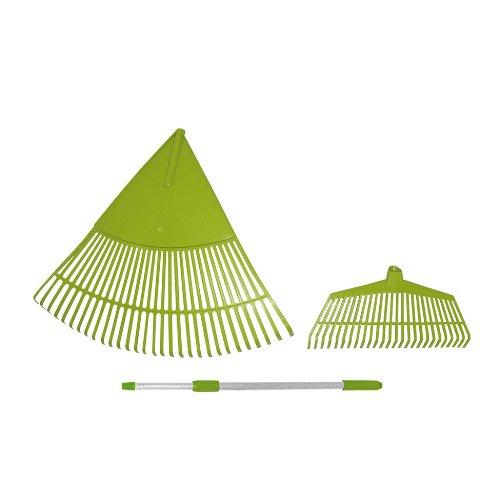 Xclou Garden Laubbesen Set 3tlg. grün, Harke mit extra breiter Fächerung, Rechen mit ausziehbarem Teleskopstiel, 76x57x5 cm