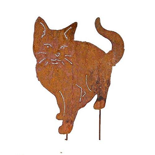 EQT-TEC Gartendekoration Katze Edelrost Figuren auf Stab Garten Deko Dekoration Draußen