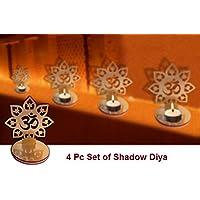 4pc Set Om forma Diwali Diya de las sombras. Deepawali tradicional decorativo Diya En Forma De Om para casa/oficina.. religiosa té luz vela titular soporte. Diwali decoración Diwali regalo