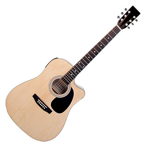 Classic Cantabile WS-10NAT-CE Westerngitarre mit Tonabnehmer (Akustik und verstärkt, Dreadnought, Cutaway, 3-Band EQ + Presence, Stimmgerät Tuner mit LCD, XLR und Klinke) natur Hochglanz