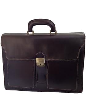 CTM-Beutel-Männer Aktenkoffer Aktentasche zur Arbeit, 41x31x18cm, 100% echtes Leder Made in Italy