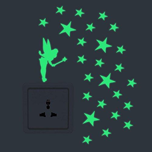 Preisvergleich Produktbild Xshuai Schalter-Aufkleber-Licht-Karikatur DIY nette kreative Katze leuchtende Nachtleuchtende Glühen-Wand-Aufkleber-Dekor-Abziehbilder Fenster-Vinyl-Leuchtstoffdekoration Ihr Raum (C)