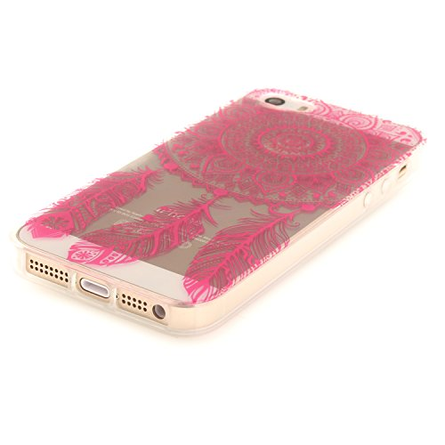 iphone 5 / 5S / SE Hülle,iphone 5 / 5S / SE Case,iphone 5 / 5S / SE Silikon Hülle [Kratzfeste, Scratch-Resistant], Cozy Hut iphone 5 / 5S / SE Hülle TPU Case Schutzhülle Silikon Crystal Kirstall Clear Rose Red Campanula