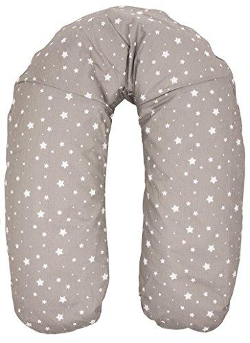 Fillikid Stillkissen Exclusiv   Seitenschläferkissen Länge 180 cm   Lagerungskissen Bezug 100 % Baumwolle   Bezug abnehmbar & waschbar   Schwangerschaftskissen Füllung: EPS-Perlen kein Rascheln, Design:grau