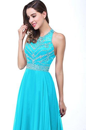 Babyonline® Damen Abendkleider Ballkleid mit Pailletten Elegant Sommer Chiffonkleid Maxi Rückenfrei Blau