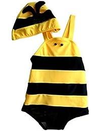 ARAUS Bebé Bañador Disfraz de Abeja Mono + Sombrero 2 Piezas Traje de Baño Natación para Niños Niñas Verano, 8 Meses- 3 Años