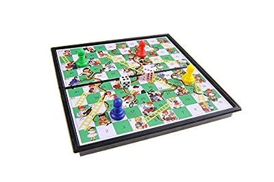 Jeu de société magnétique (version super mini de voyage): Serpents et échelles / le jeu de l'échelle - pions magnétiques, tablier pliant, 13cm x 13cm x 1, 2cm, Mod. SC5230 (DE)