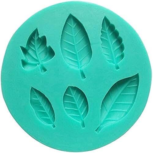 figuras kawaii porcelana fria Umiwe(TM) Molde de Silicona de 6 Cavidad Hojas Hermosas de Fondant, Molde de Decoración para Tarta y Azúcar, Color Aleatoriamente con Umiwe Accesorio