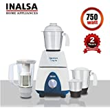 Inalsa Mixer Grinder Signature 750W ,1.5L Break Resistant Blender Jar with Fruit Filter, 1.5L SS Liquidizer Jar, 1.0L SS Multi-Purpose Jar, 0.4L SS Chutney Jar,(White/Blue)