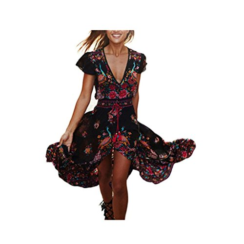 Gedruckt V-ausschnitt Kleid (Maxi Kleider, Xjp Frauen Retro Blumen gedruckt V-Ausschnitt Kleid für Abend Party (L))