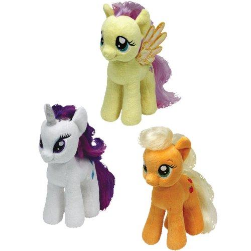 ty-beanie-babies-my-little-pony-set-of-3-rarity-applejack-fluttershy-by-ty-beanie-babies