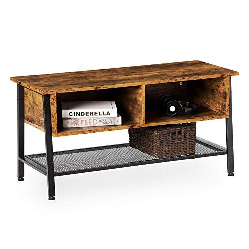 EPHEX Fernsehtisch im Vintage Look, Fernsehschrank, TV Tisch Lowboard Wohnzimmertisch, Stabil mit Metallgestell und Gitterablage, 2 Schubladen, Holzoptik Vintage Dunkelbraun