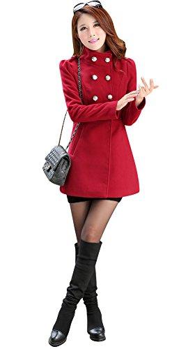 Aisuper - Abrigo - para Mujer Rojo Rojo Vino 40