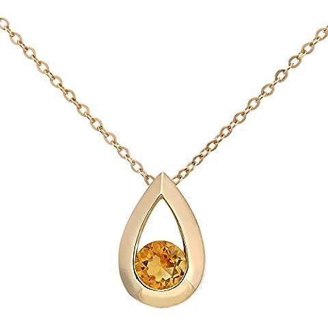 Revoni - Collana con pendente in oro giallo 9 kt e citrino con catena di 46 cm