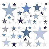 I-love-Wandtattoo WAS-10451 Kinderzimmer Wandsticker Set Sterne in Einem Zarten Pastell Blau und Pastell Grau 50 Stück Sternenhimmel Zum Kleben Wandtattoo Wandaufkleber Sticker Wanddeko