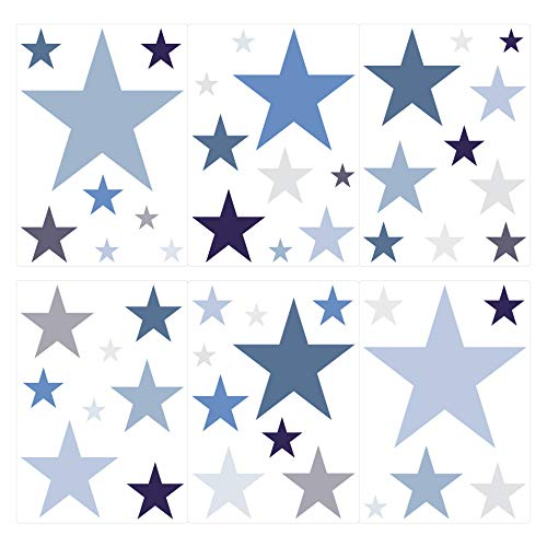 dekodino Wandtattoo Kinderzimmer Wandsticker Set Sterne in Einem zarten Pastell Blau und -