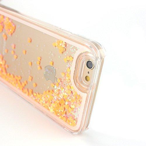 Tailcas® Etui Housses de Protection pour Apple iPhone 5 / 5S, Dynamique Liquide Forme de Cœur Sables Mouvants Cover Case Coque Transparente en Rigid Plastic pour Apple iPhone 5 / 5S - Argent Orange