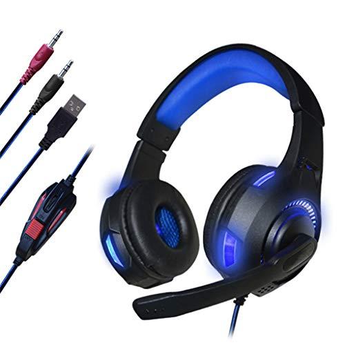 Shudage 3D Surround Sound Gaming Headset - 3,5 mm Kabel Kopfhörer mit Mikrofon über Ohr ergonomisches Design für Gaming, PS4, PC, Nintendo und Mac, siehe abbildung