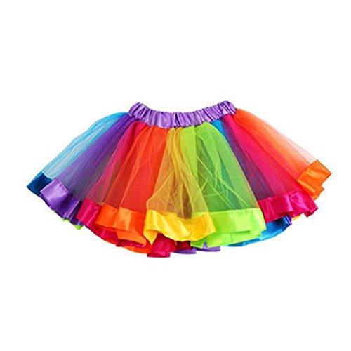 Kobay Mädchen Kinder Regenbogen Pettiskirt Bowknot Rock Tutu Kleid Dancewear (Kleinkind Mädchen Rock)