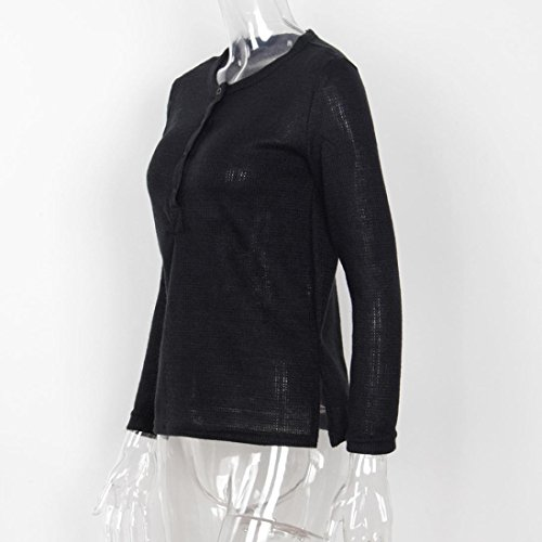 Jamicy Le donne casual Loose maglia maglione Maglie Maglieria camicia a maniche lunghe Nero